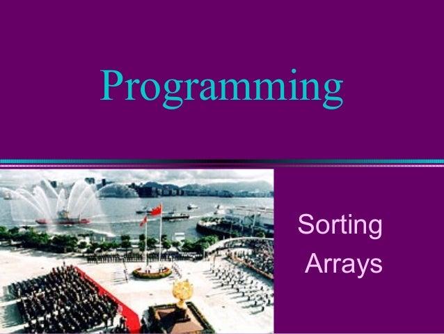 Programming Sorting Arrays