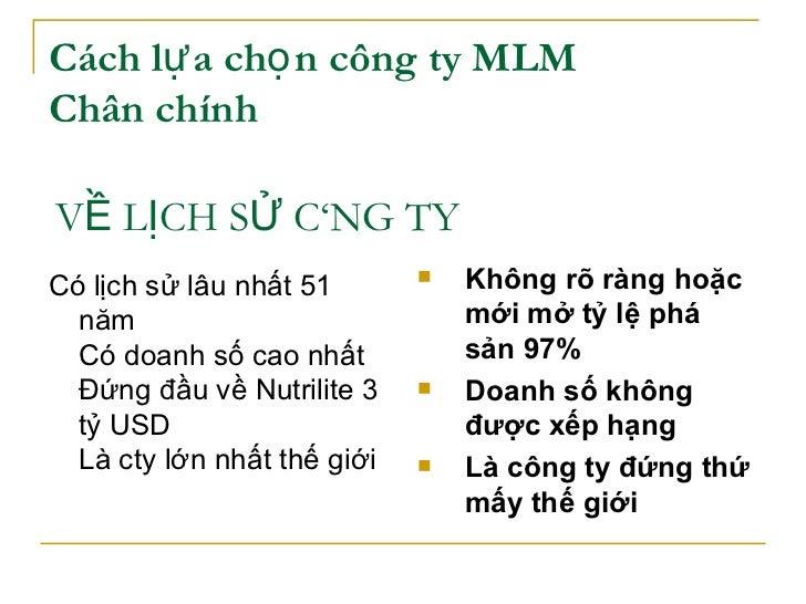 Cách lựa chọn công ty MLM  Chân chính   <ul><li>Có lịch sử lâu nhất 51 năm Có doanh số cao nhất  Đứng đầu về Nutrilite 3 t...