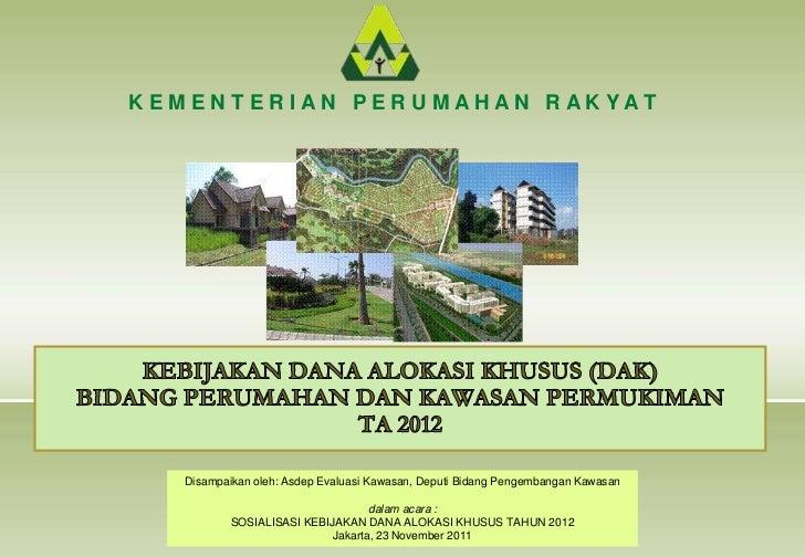 Sos dak 2012   perumahan dan kawasan permukiman