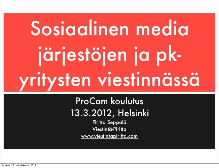 Sosiaalinen media                järjestöjen ja pk-              yritysten viestinnässä                                  P...