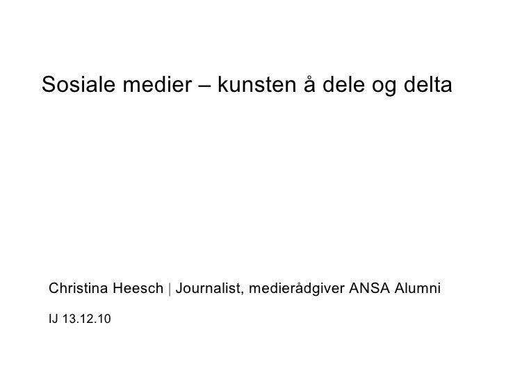 Sosiale medier Institutt for Journalistikk