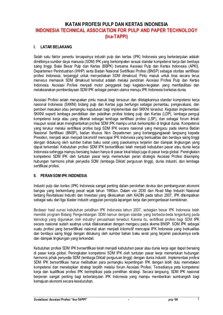 Sosialisasi asosiasi profesi pulp dan kertas indonesia