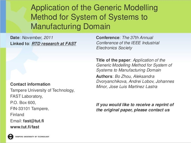 Application of the Generic Modelling          Method for System of Systems to          Manufacturing DomainDate: November,...