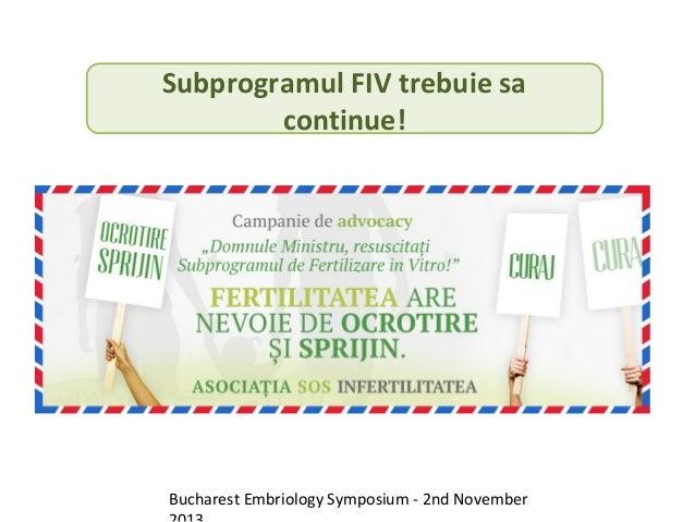 Subprogramul FIV trebuie sa continue!  Bucharest Embriology Symposium - 2nd November