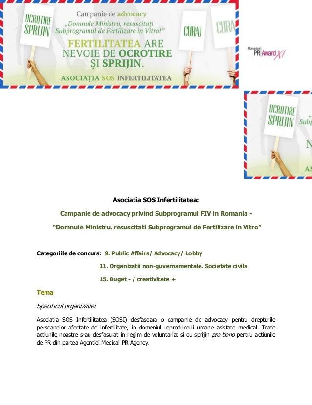 Sos infertilitatea pr award 2013