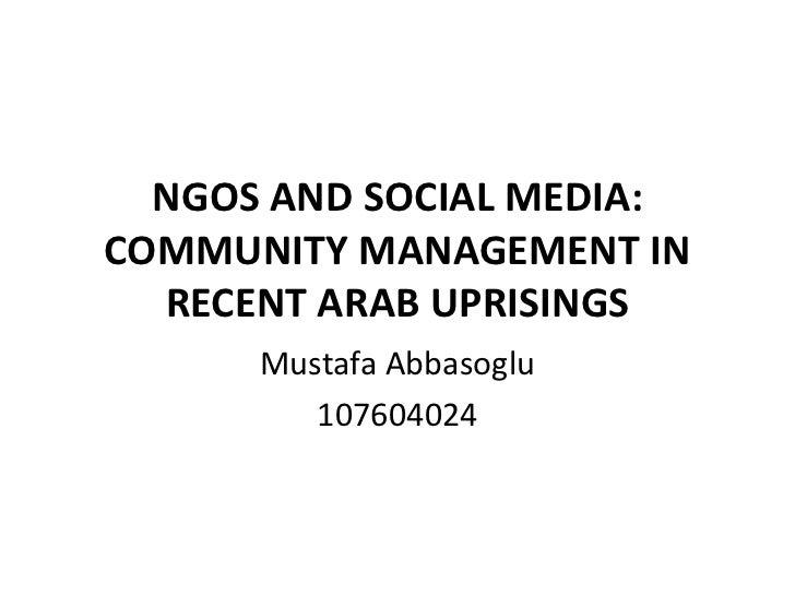 NGOs and Social Media: Case Study Arab Uprisings