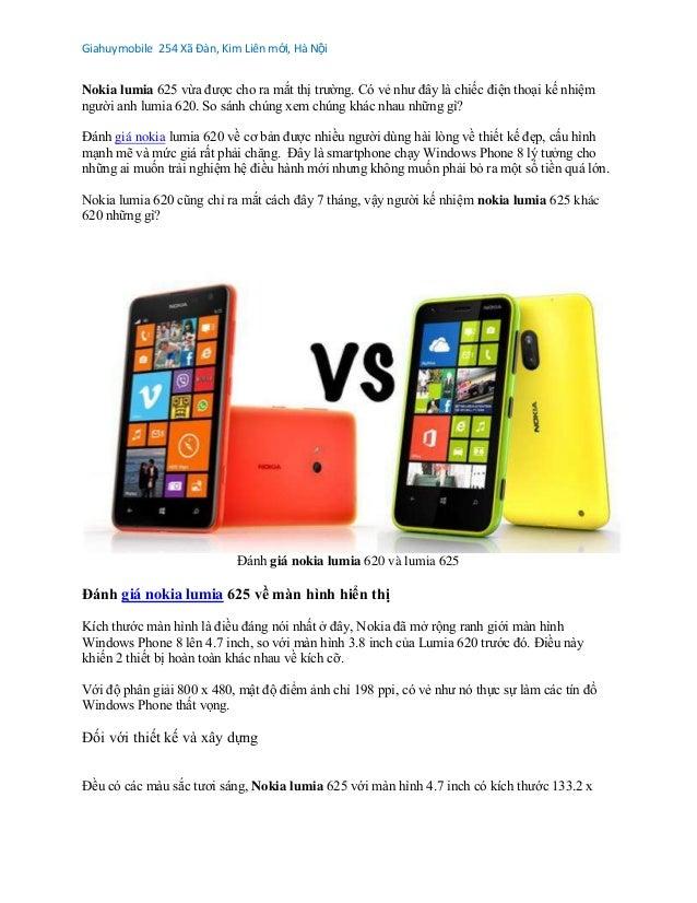 So sánh nokia lumia 625 với nokia lumia 620