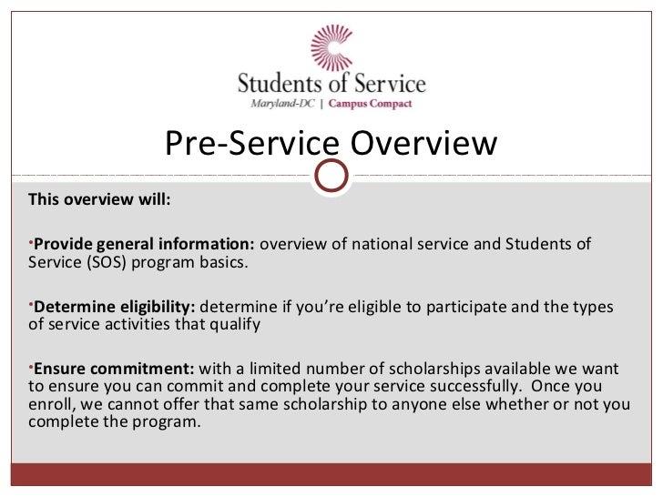 SOS Pre-Service Overview