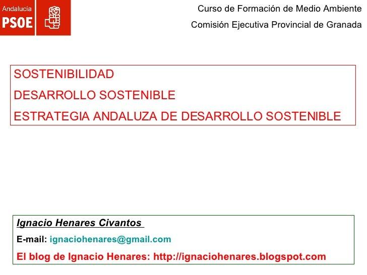 Curso de Formación de Medio Ambiente Comisión Ejecutiva Provincial de Granada SOSTENIBILIDAD  DESARROLLO SOSTENIBLE ESTRAT...