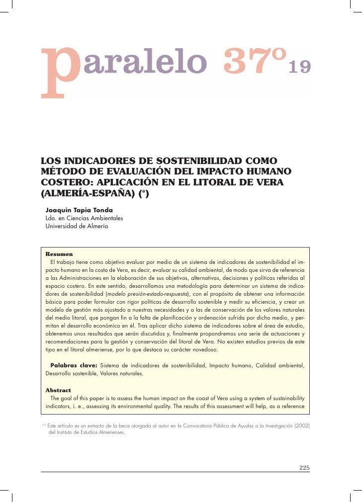 LOS INDICADORES DE SOSTENIBILIDAD COMO MÉTODO DE EVALUACIÓN DEL IMPACTO HUMANO COSTERO: APLICACIÓN EN EL LITORAL DE VERA (...