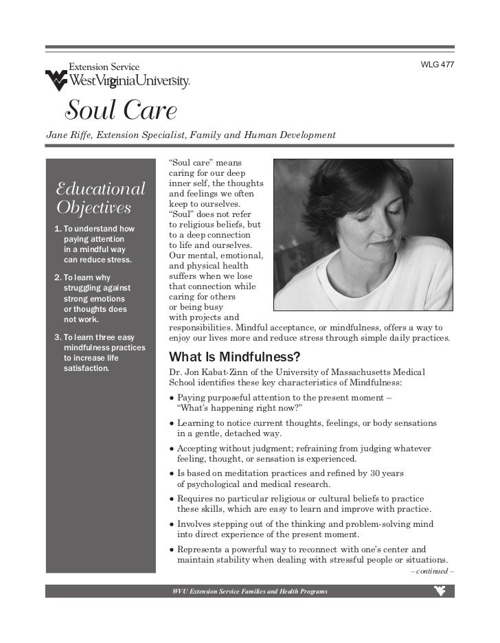 """WLG 477   Soul CareJane Riffe, Extension Specialist, Family and Human Development                             """"Soul care"""" ..."""