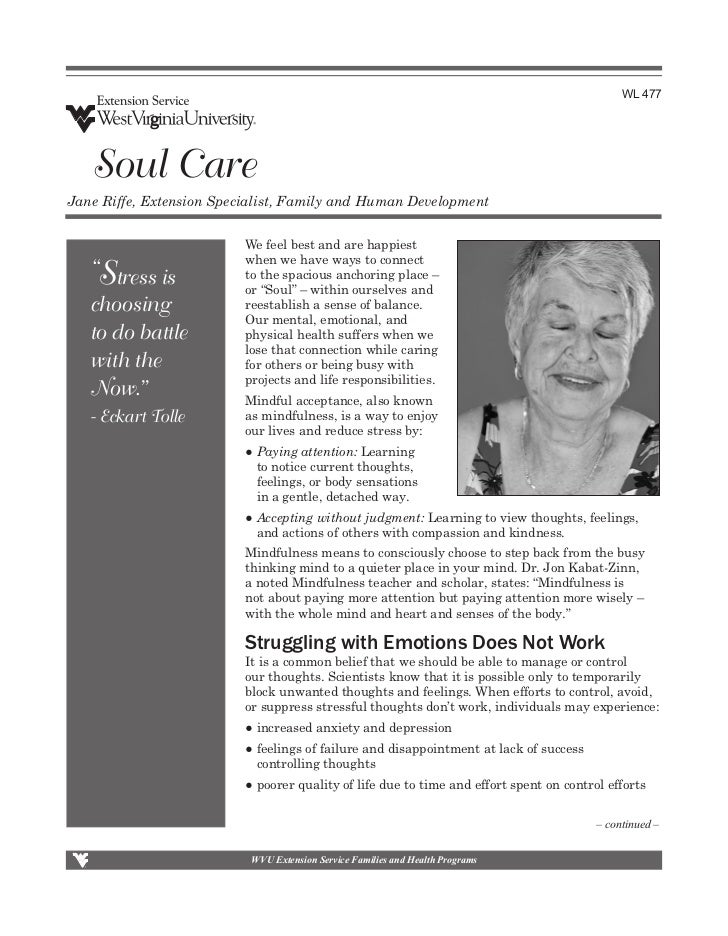 WL 477   Soul CareJane Riffe, Extension Specialist, Family and Human Development                          We feel best and...