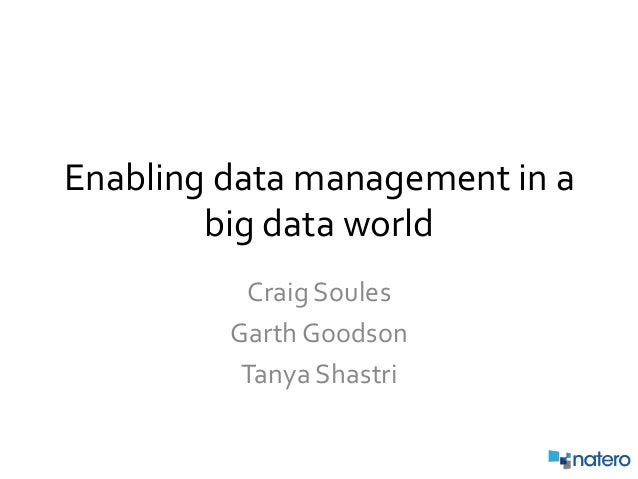Enabling Data Management in a Big Data World