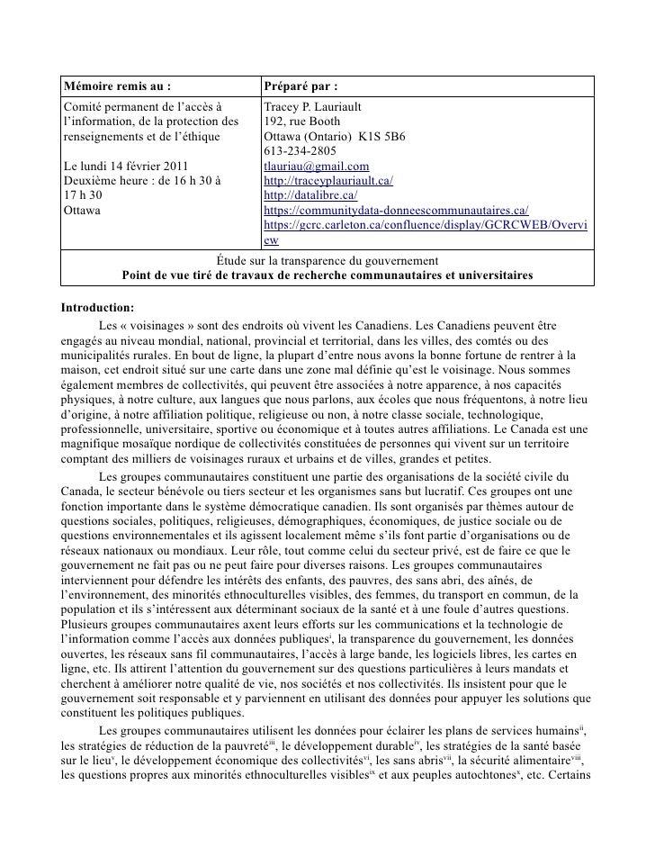 Mémoire remis au :                        Préparé par :Comité permanent de l'accès à             Tracey P. Lauriaultl'info...