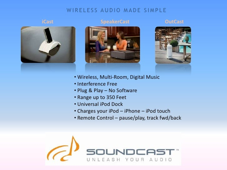 WIRELESS AUDIO MADE SIMPLE<br />iCast<br />SpeakerCast<br />OutCast<br /><ul><li> Wireless, Multi-Room, Digital Music