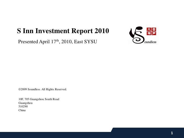 Soundless, s inn ivestment report 2010