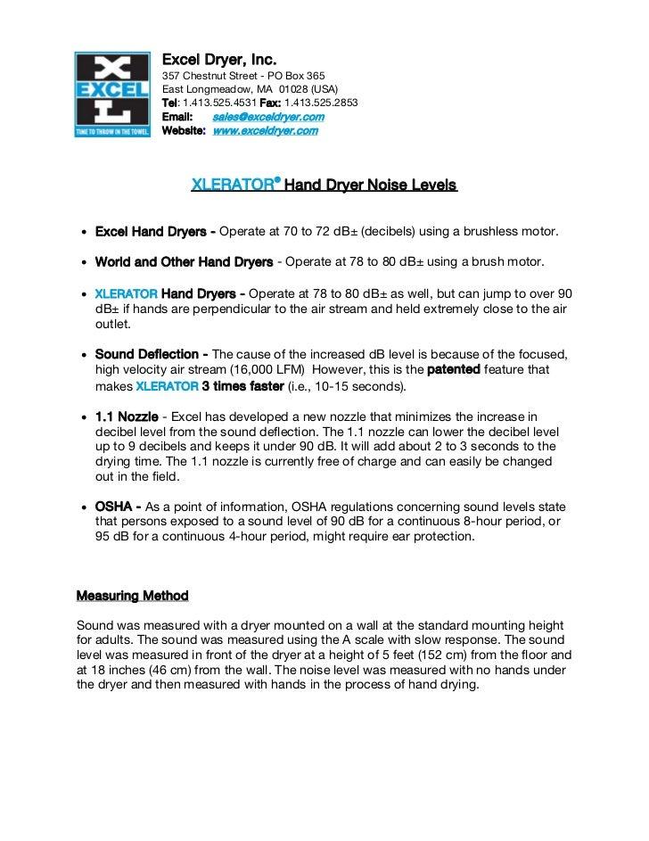 Excel Dryer, Inc.               357 Chestnut Street - PO Box 365               East Longmeadow, MA 01028 (USA)            ...