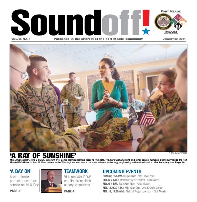 Soundoff! ´  vol. 66 no. 4	  Published in the interest of the Fort Meade community	  January 30, 2014  'a ray of sunshine'...