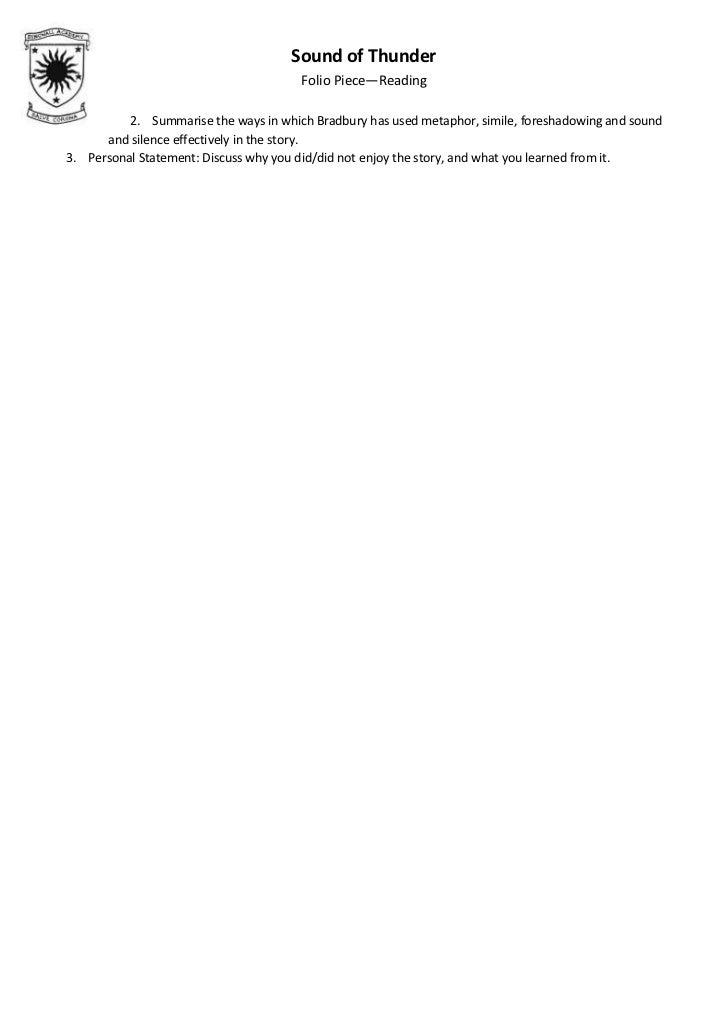 A sound of thunder essay