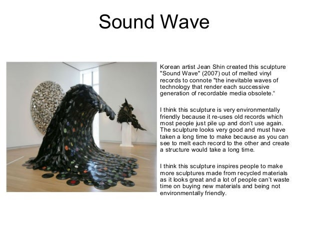 "Sound Wave Korean artist Jean Shin created this sculpture ""Sound Wave"" (2007) out of melted vinyl records to connote ""the ..."