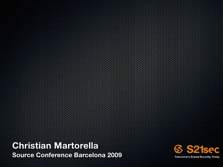Christian Martorella Source Conference Barcelona 2009