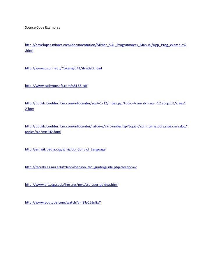 Source Code Exampleshttp://developer.mimer.com/documentation/Mimer_SQL_Programmers_Manual/App_Prog_examples2.htmlhttp://ww...