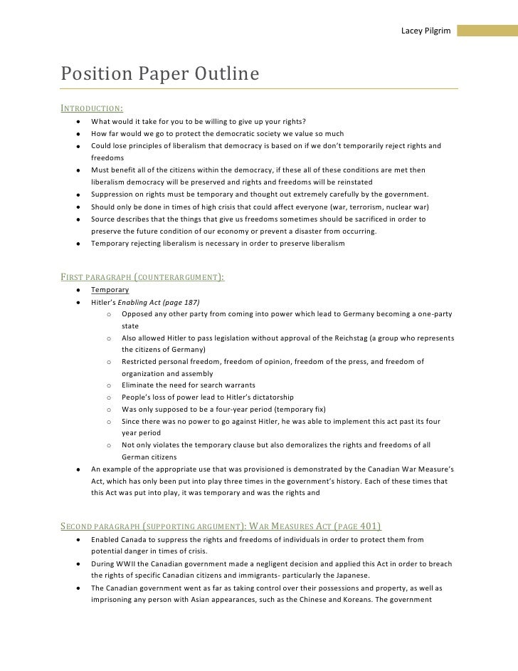 Position Paper Outline<br />Introduction:<br /><ul><li>What would it take for you to be willing to give up your rights?