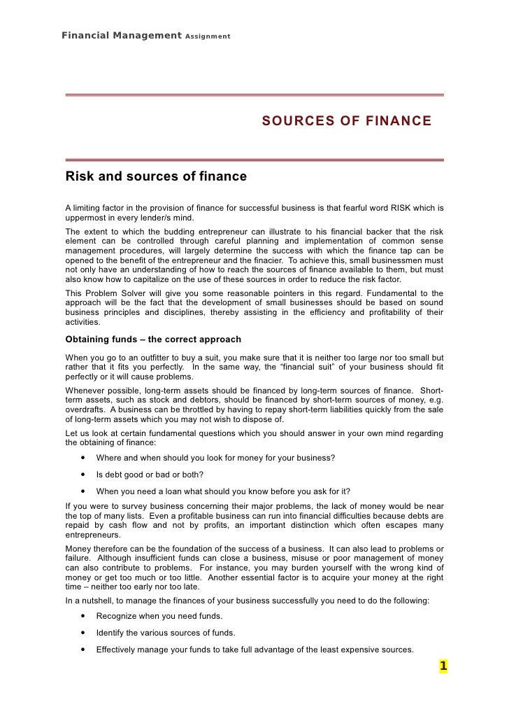 Financial Management            Assignment                                                          SOURCES OF FINANCE    ...