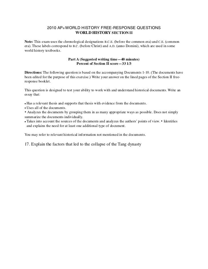 2010 AP® WORLD HISTORY FREE-RESPONSE QUESTIONS                           WORLD HISTORY SECTION IINote: This exam uses the ...
