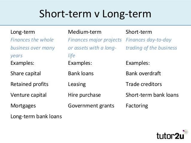short term v long termlong term medium term short termfinances