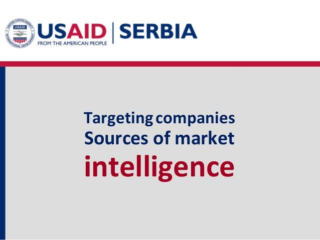 Targeting companies  Sources of market  intelligence