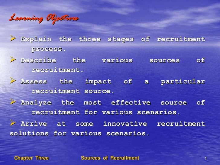 Learning Objectives   Explain the three stages of recruitment     process.   Describe   the            various           s...