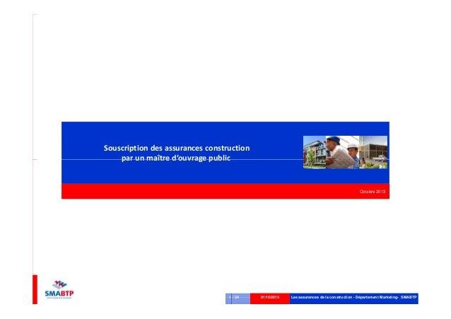 Souscription des assurances construction par un maître d'ouvrage public Les assurances de la construction - Département Ma...