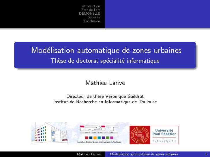 Introduction                   ´                   Etat de l'art                  DEMONS LE                       Gabarits...