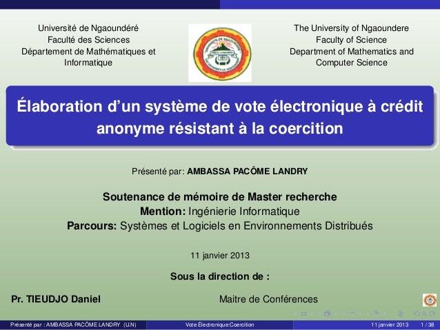 Université de Ngaoundéré Faculté des Sciences Département de Mathématiques et Informatique The University of Ngaoundere Fa...