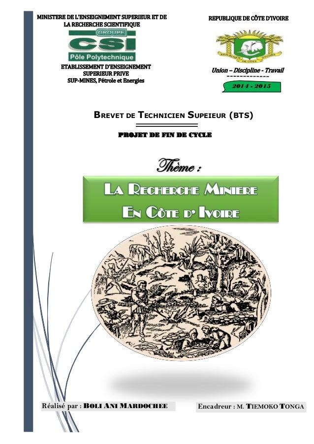 Recherche mini re en c te d 39 ivoire - Bureau de recherche geologique et miniere ...