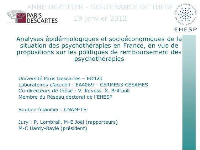 Analyses épidémiologiques et socioéconomiques de la situation des psychothérapies en France, en vue de propositions sur le...
