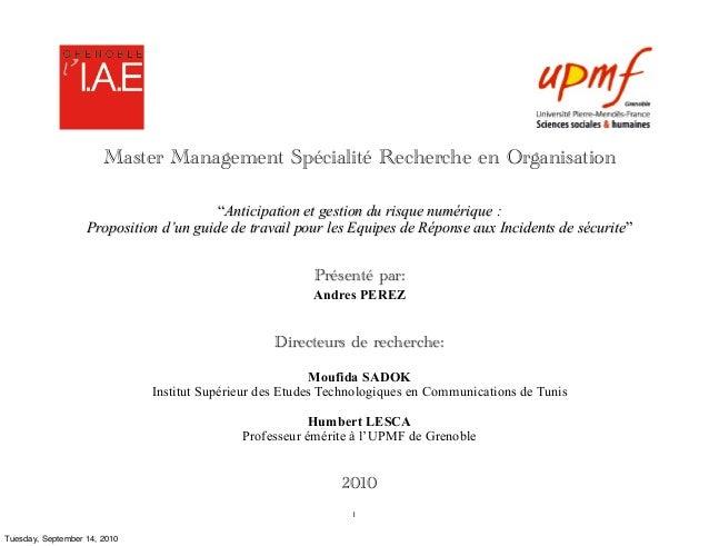 """Master Management Spécialité Recherche en Organisation                                        """"Anticipation et gestion du ..."""