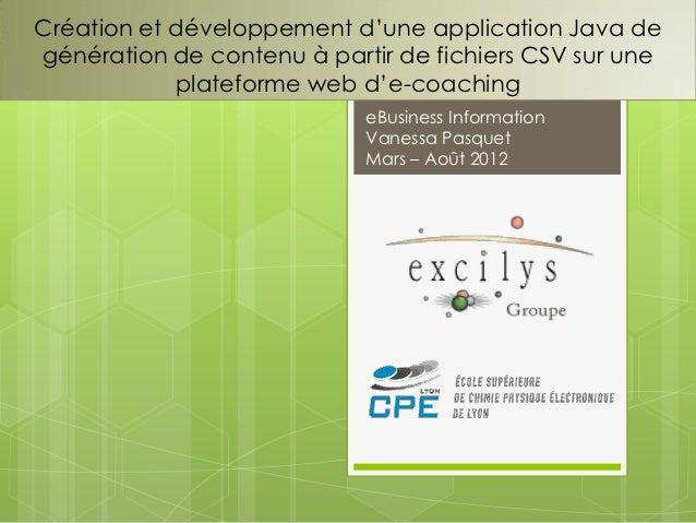 Création et développement d'une application Java degénération de contenu à partir de fichiers CSV sur une            plate...