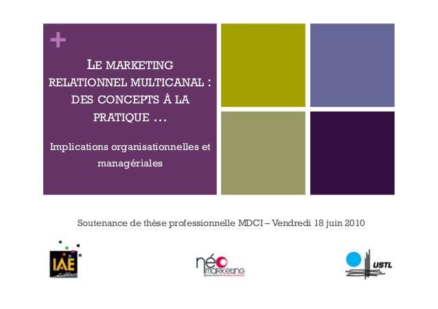 +  LE MARKETING  RELATIONNEL MULTICANAL :  DES CONCEPTS À LA  PRATIQUE …  Implications organisationnelles et  managériales...