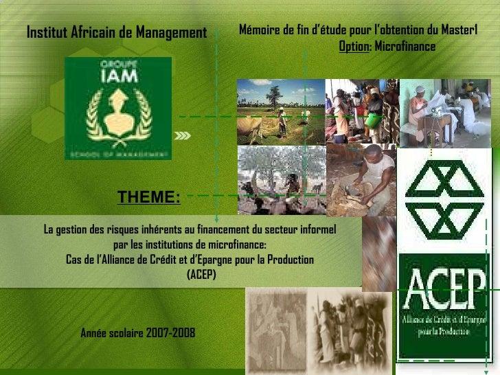 La gestion des risques inhérents au financement du secteur informel par les institutions de microfinance: Cas de l'Allianc...