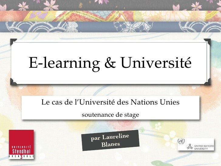 Soutenance de stage - e-learning & université