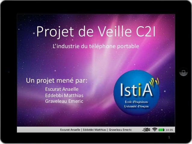 Escurat Anaelle | Eddebbi Matthias | Graveleau Emeric 14: 05 Projet de Veille C2I Un projet mené par: Escurat Anaelle Edde...