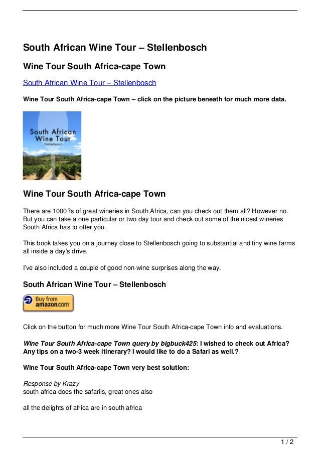 South African Wine Tour – Stellenbosch