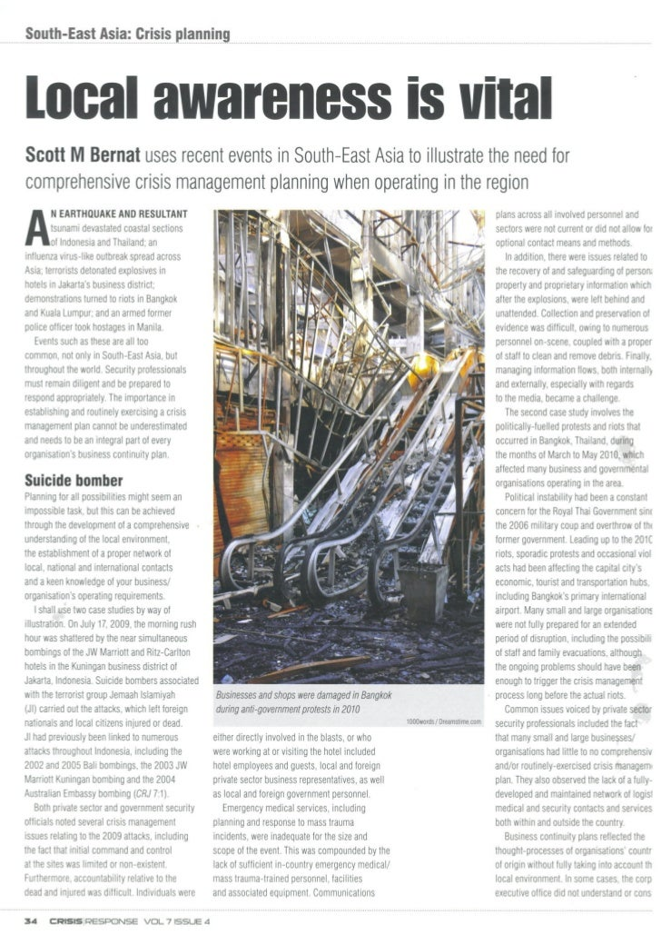 South-East Asia Crisis Planning - Local Awareness is Vital - Crisis Response Journal - March 2012
