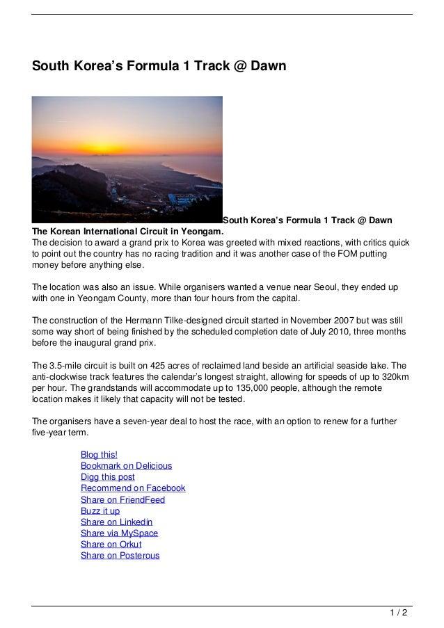 South Korea's Formula 1 Track @ Dawn                                                  South Korea's Formula 1 Track @ Dawn...