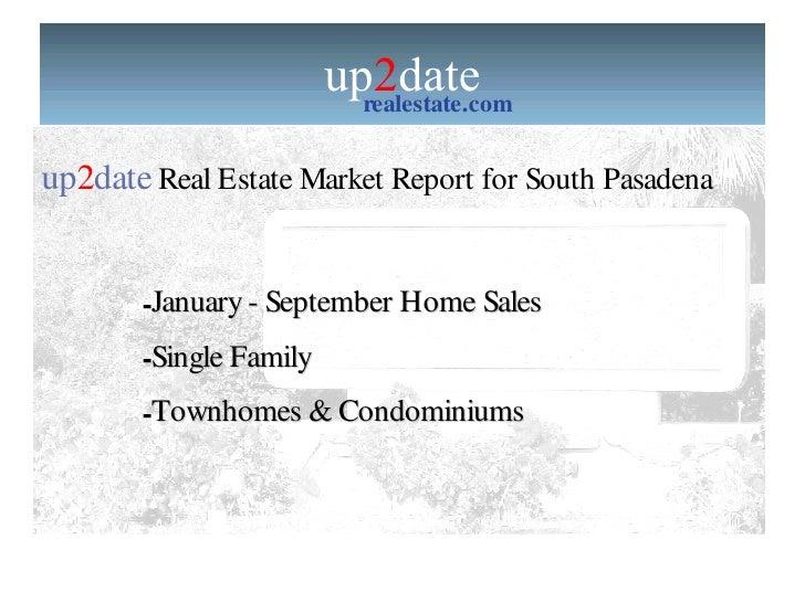 South Pasadena Home Sales Report Jan - September
