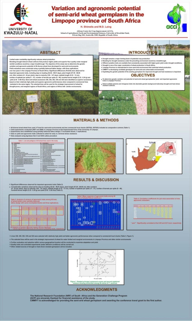 Variation and agronomic potential of semi-arid wheat germ plasm in the Limpopo province of South Africa