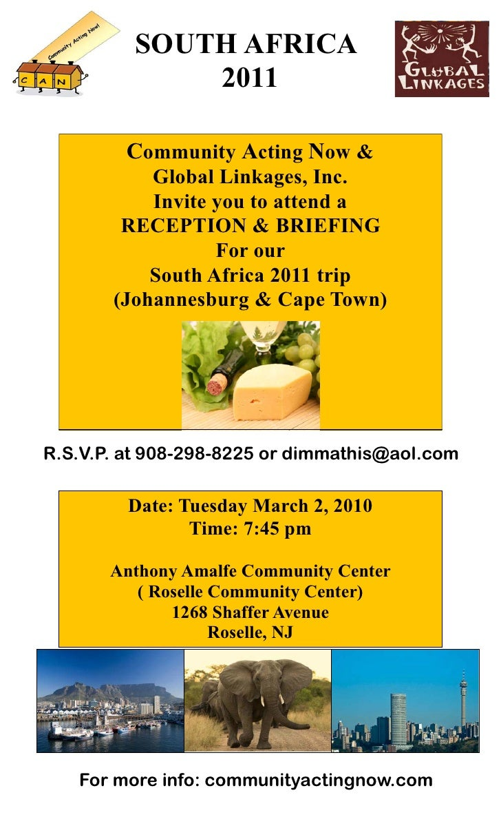 SOUTH AFRICA              2011           Community Acting Now &            Global Linkages, Inc.            Invite you to ...