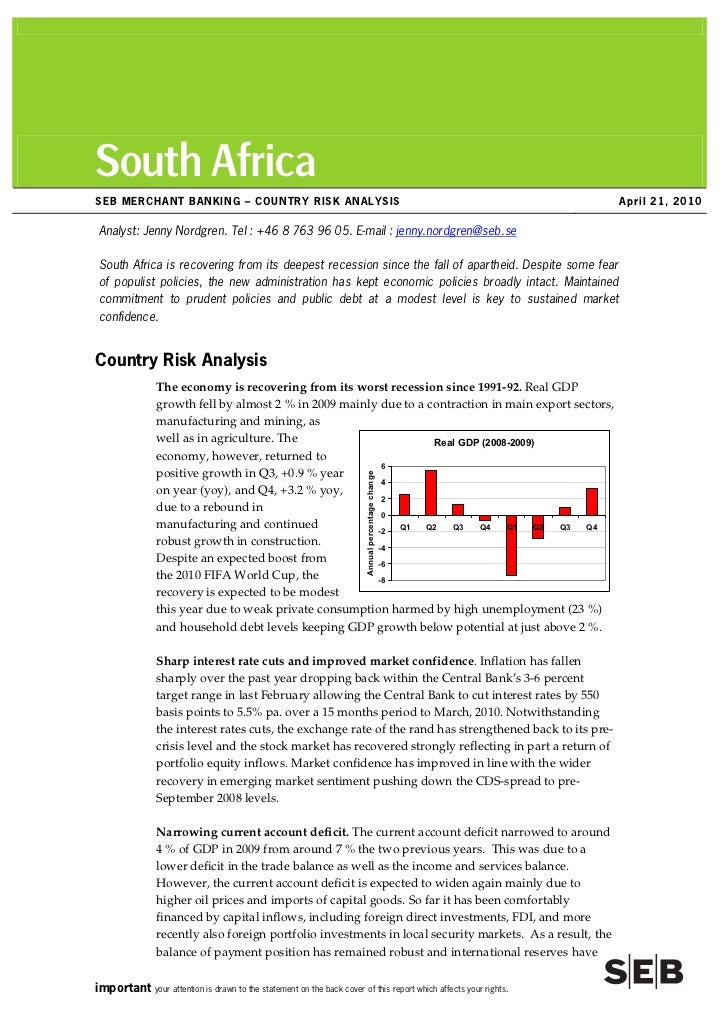 South Africa SEB MERCHANT BANKING –– COUNTRY RISK ANALYSIS                                                                ...